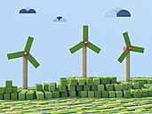 3D Rendering, Wind wheels, Wind park from toy blocks - UWF000340