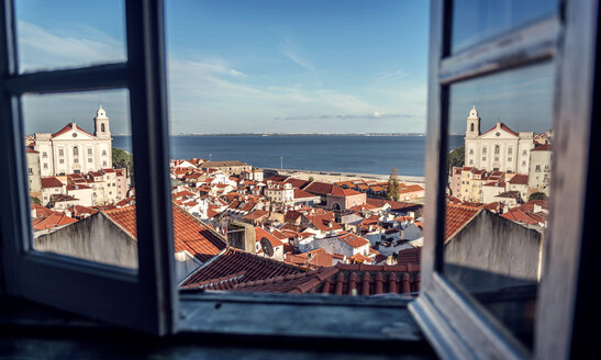 Portugal, Lisbon, view of Alfama neighborhood and River Tejo through open window - EHF000068