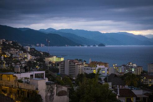 Mexico, Puerto Vallarta, Banderas Bay at Blue Hour - ABAF001614