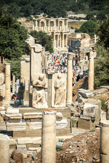 Turkey, Ephesus, ruins of the ancient city with Library of Celsus in the background - EHF000101
