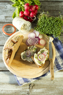 Lard bread garnished with, red radish, onion rings and cress - MAEF009388