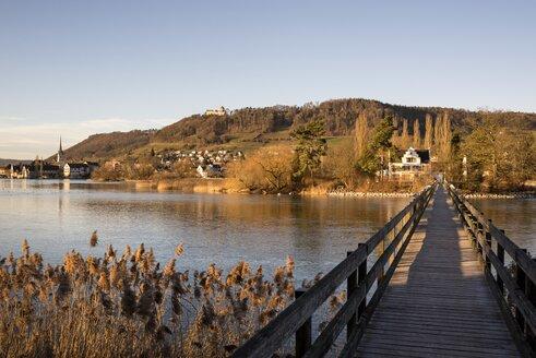 Switzerland, Thurgau, wooden footbridge to Island of Werd - ELF001465