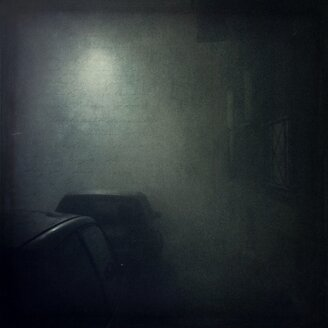 Germany, Wuppertal, cars in fog at night - DWI000391