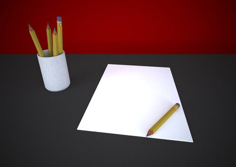 Blank sketch block, pencil and cup of pencils, 3D Rendering - ALF000286