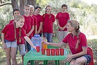South Africa, Kids on field trip getting refreshment - ZEF003932