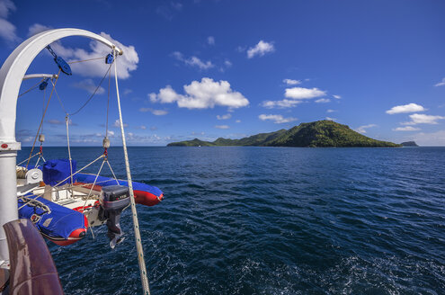 Caribbean, Antilles, Lesser Antilles, Grenadines, View from ship to Union Island - THA001195