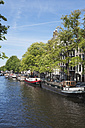 Netherlands, County of Holland, Amsterdam, town canal with house boats - GW003738