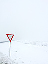 Give way sign in winter landscape - VRF000140