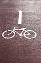 Bicycle lane sign with arrow - KBF000305