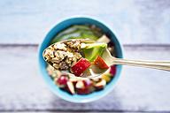 Spoon of avocado apple muesli with hemp seeds - LVF002638