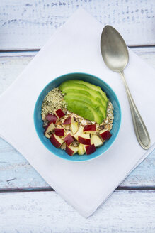 Bowl of avocado apple muesli with hemp seeds - LVF002640
