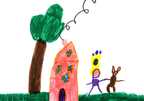 Child's drawing, Tree, House and playing child with animals - WWF003394