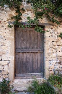 Greece, Monemvasia, wooden door in old town - WWF003489