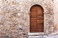 Greece, Monemvasia, wooden door in old town - WWF003490