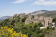 Greece, Vatheia, tower houses and coastal landscape - WWF003526