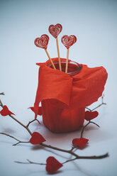 Hearts On Wooden Sticks In Red Wrapped Jar - BZF000005