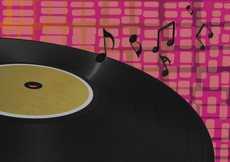 3D Rendering, Vinyl record with musical notes against patterned background - ALF000291