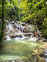Jamaica, Ocho Rios, Tourists bathing in Dunn's River - AMF003665
