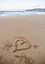Spain, Valdovino, heart painted in the sand of Frouxeira beach - RAEF000021