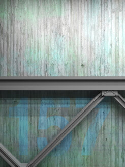 Painted concrete wall and steel girders, 3D Rendering - UWF000361