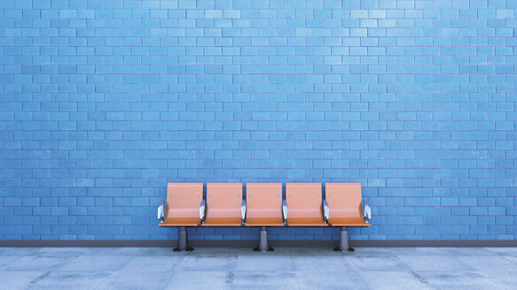 Row of seats at underground station platform, 3D Rendering - UWF000360