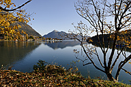 Germany, Bavaria, Lake Walchensee and Walchensee village with Jochberg mountain in background - LBF001010