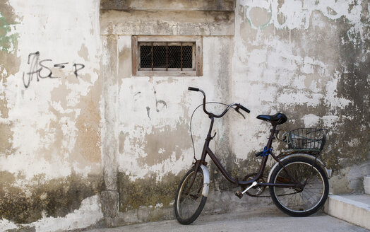 Bicycle at old house wall - WWF003573