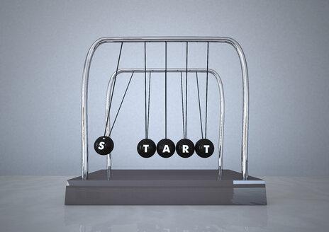 Newton's cradle with word START written on it - ALF000293