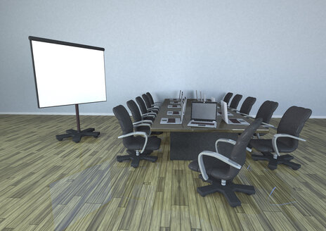 Conference room with table, laptops and flipchart - ALF000296
