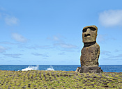 Chile, Easter Island, Hanga Roa, moai in the Tahai Ceremonial Complex - GEMF000024