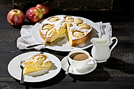 Home-baked apple pie and cup of white coffee - MAEF009680