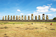 Chile, Easter Island, row of moais at Ahu Tongariki - GEMF000028