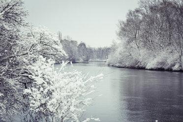 Germany, Landshut, Isar River in winter - SARF001312
