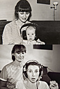 Mother and daughter in now and then photos, wearing headphones at home - MFF001474