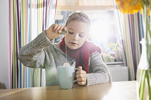Boy having a cold sitting in the kitchen with cup of tea - PDF000760