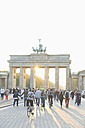 Germany, Berlin, view to Brandenburger Tor at backlight - MEMF000704