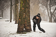 Young woman with snowball hiding behind tree trunk - PAF001262