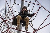 Little boy sitting on climbing net - MGOF000068