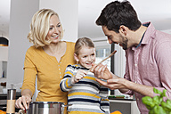 Mother, father and daughter cooking in kitchen - RBF002384