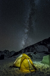 Nepal, Khumbu, Everest region, the milky way and tent from high camp on Pokalde peak at night - ALRF000059