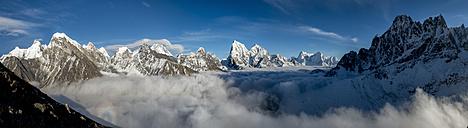 Nepal, Khumbu, Everest region, everest range from Gokyo ri peak, Panorama - ALRF000033
