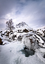 Great Britain, Scotland, Highland, Buachaille Etive Mor, frozen waterfall - SMAF000302