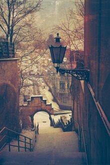 Germany, Wuppertal, Hamburger Treppe in winter - DWIF000431