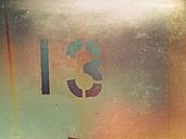 Number 13 on window pane - DWIF000432
