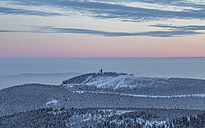 Germany, Saxony-Anhalt, Harz National Park, Mountain Wurmberg with ski jump at sunset - PVCF000263
