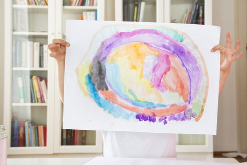 Little girl showing drawing painted with watercolours - LVF002797