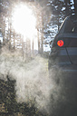 Car in the woods with smoke from exhaust - DEGF000294