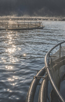 Bulgaria, Cages for fish farming in mountain lake - DEGF000298