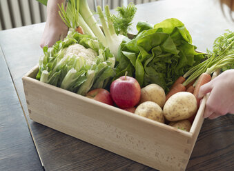 Hand taking crate with fresh fruit and vegetables - RHF000539