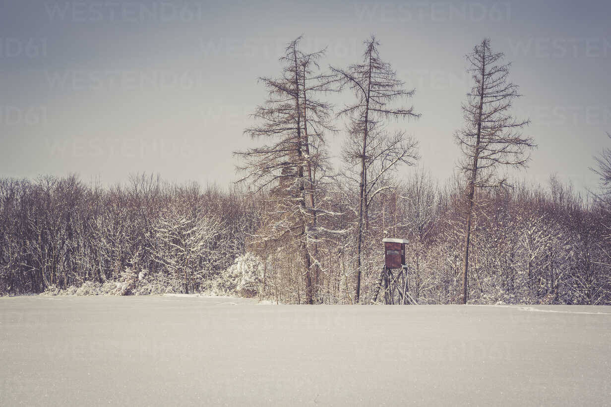 Germany, Baden-Wurttemberg, Swabian Mountains, Trees in snow covered landscape - LVF002829 - Larissa Veronesi/Westend61